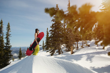 Portrait of snowboarder female standing in winter mountain forest with snowboard. Sunny winter holiday, winter sport outdoor