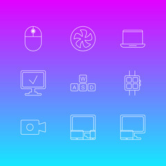 Vector Illustration Of 9 Notebook Icons. Editable Pack Of Notebook, Online Computer, Gadgets And Other Elements.