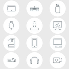 Vector Illustration Of 12 Notebook Icons. Editable Pack Of Tablet, Presentation, Phone Near Computer And Other Elements.