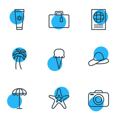 Vector Illustration Of 9 Summer Icons. Editable Pack Of Anti-Sun Cream, Island , Fish Elements.