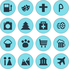 Vector Illustration Of 16 Check-In Icons. Editable Pack Of Cake, Refueling, Cross And Other Elements.