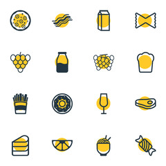 Vector Illustration Of 16 Eating Icons. Editable Pack Of Bunch Of Grapes, Milk, Loaf And Other Elements.
