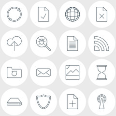 Vector Illustration Of 16 Web Icons. Editable Pack Of Photo, World, Hard Drive Disk And Other Elements.
