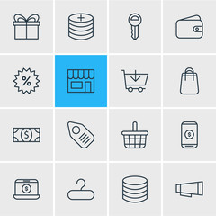 Vector Illustration Of 16 Trading Icons. Editable Pack Of Pocketbook, Trading, Advertising And Other Elements.
