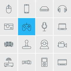 Vector Illustration Of 16 Accessory Icons. Editable Pack Of Sound Recording, Computer, Floodlight And Other Elements.