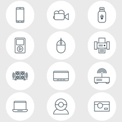 Vector Illustration Of 12 Technology Icons. Editable Pack Of Modem, Photocopier, Media Controller And Other Elements.