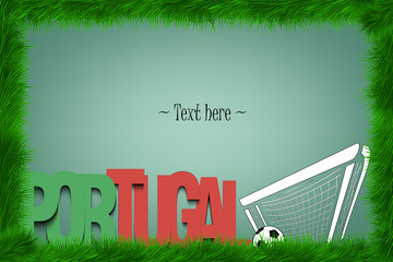 A frame of grass with the word Portugal and a soccer ball at the gate