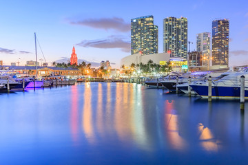 Bayside Marketplace at dusk in Miami, Florida. It is a festival marketplace and the top entertainment complex in Downtown Miami attracting 15M people annually.
