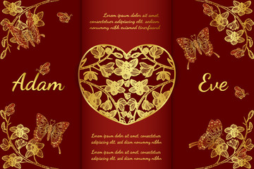 Butterfly and cymbidium orchids card by hand drawing.Butterfly and gold flower wedding card on red background.
