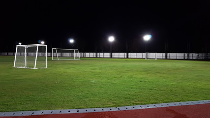 Small size of green lawn of football field