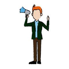 politician man standing holding speaker announcement vector illustration