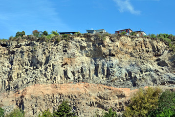 Houses left Stranded on Cliff Edge by Earthquakes, Christchurch
