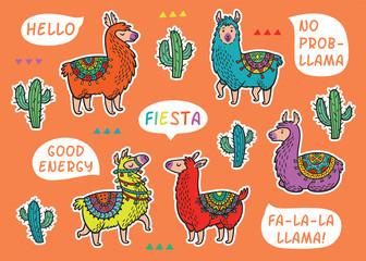 Decorative Llama Alpaca set. Colorful vector childish patches
