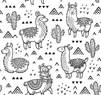 Contour seamless pattern with alpaca and cactuses. Coloring book page