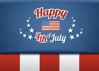 Happy 4th of July, American Independence Day. Vector template background for greeting cards, posters, leaflets, brochures, digital wallpapers etc.