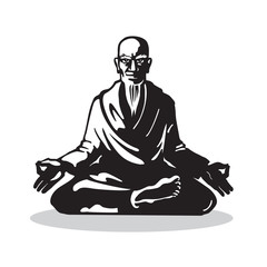 Yogi - Guru Sitting In Lotus Pose. Yoga Characters in the Style of Engraving. Vector Isolated Graphic Illustration.
