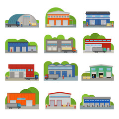 Warehouse storehouse depot storage facilities logistic flat style buildings vector illustration isolated on white