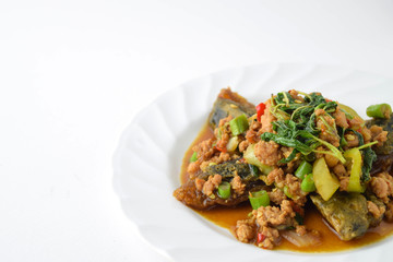 stir fired minced pork with basil top on fired preserved egg.