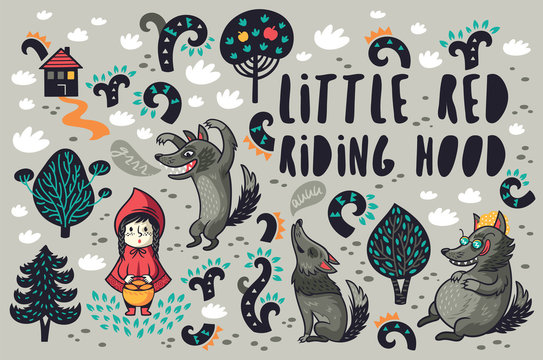Cute little girl and gray hungry wolves in the forest vector set