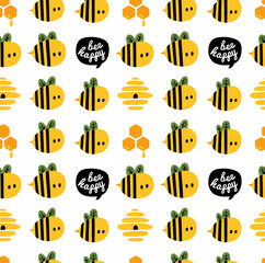 Seamless pattern with cartoon bees and beehive for design