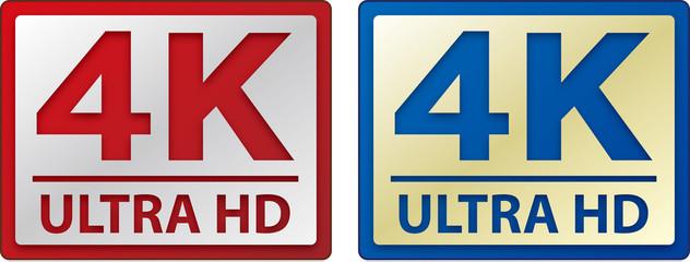 4k ultra HD sign, logo, icon, vectors.