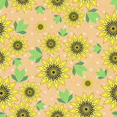 Vector seamleess background with yellow sunflowers and leaves on kraft paper