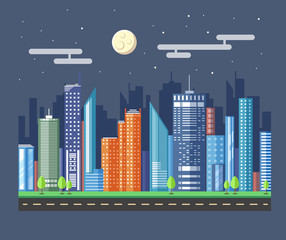 Flat style modern design of urban night city landscape. Vector icon set