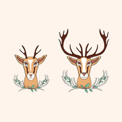 Decorative deer graphic hand drawn vector cartoon doodle illustration with bouquet holly, wild animal with curved horns isolated mascot head, Character design for greeting card, logo icon, baby shower