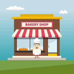 Bakery shop front veiw with baker. Flat design.