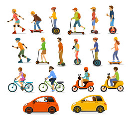 People, men and women riding modern electric scooters, cars, bicycles , skateboards,segway,hoverboard. Perconal eco friendly trasportation vehicles set
