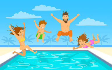 Family on vacation vector illustration. Man, woman, their children, boy and girl, jumping diving into swimming pool