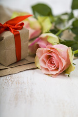 Pink roses,  gift and hearts