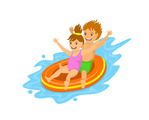 Kids sliding down on a inflatable tube in waterpark, pool