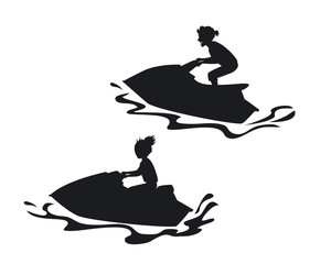 man and woman driving ski jet silhouettes