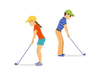 man and woman golf players