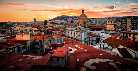 Photo sur Aluminium Naples Stunning view of Naples in Italy on a sunset