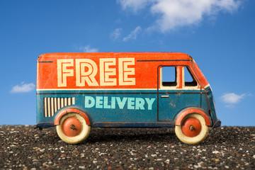 Free delivery van, vintage toy truck