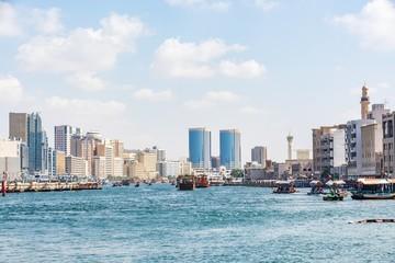 View of Dubai creek on a beautiful day, Deira district, Dubai, United Arab Emirates, UAE