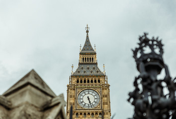 View of the Big Ben tower in London on a slightly cloudy day, London