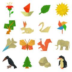 Origami craft icons set, cartoon style