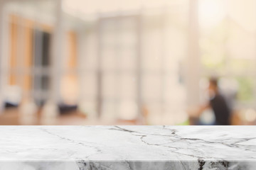 White Stone table top and blurred restaurant interior background - can used for display or montage your products.