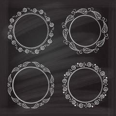 Vector frames set on the chalkboard.