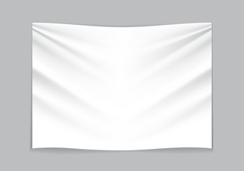 Hanging empty white fabric on gray background vector illustration.