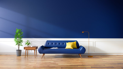 Modern interior of living room, blue sofa on wood flooring and dark blue wall ,3d rendering Wall mural