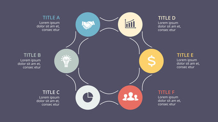 Vector circle arrows infographic, cycle diagram, graph, presentation chart. Business concept with 6 options, parts, steps, processes. 16x9 dark slide template.