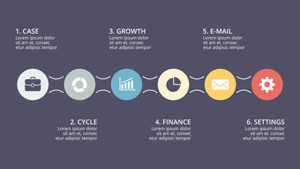 Vector circle timeline infographic, cycle diagram, graph, presentation chart. Business concept with 6 options, parts, steps, processes. 16x9 dark slide template.