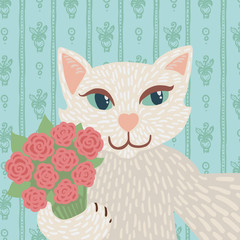 White angora cat holding a bouquet of pink roses selfie