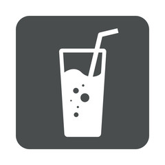 Icono plano vaso de refresco en cuadrado gris