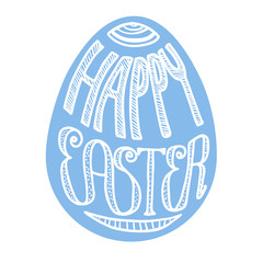 Happy Easter lettering in egg shape, blue, isolated on white background