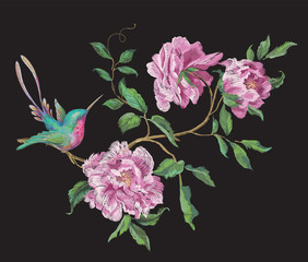 Embroidery fashion pattern with hummingbird on branch of exotic peonies.